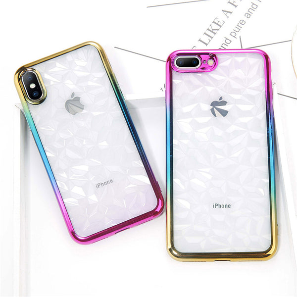 Phone Case - Luxury 3D Diamond Gradient Electroplated Colorful Transparent Soft TPU Cover For iPhone X 8/7/6S Plus