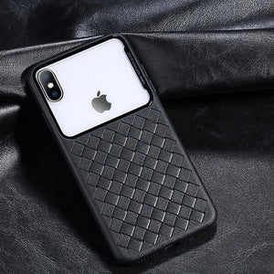 Phone Case -  Luxury Clear Tempered Glass Breathable Woven Texture Soft TPU Shockproof Phone Case For iPhone XS/XR/XS Max 8/7 Plus