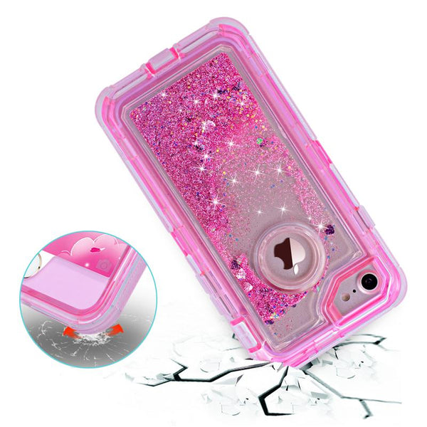 Phone Case - 3 in1 TPU Bling Clear Quicksand Case For iPhone X 8 8 Plus (Buy 2, second one 20% off)