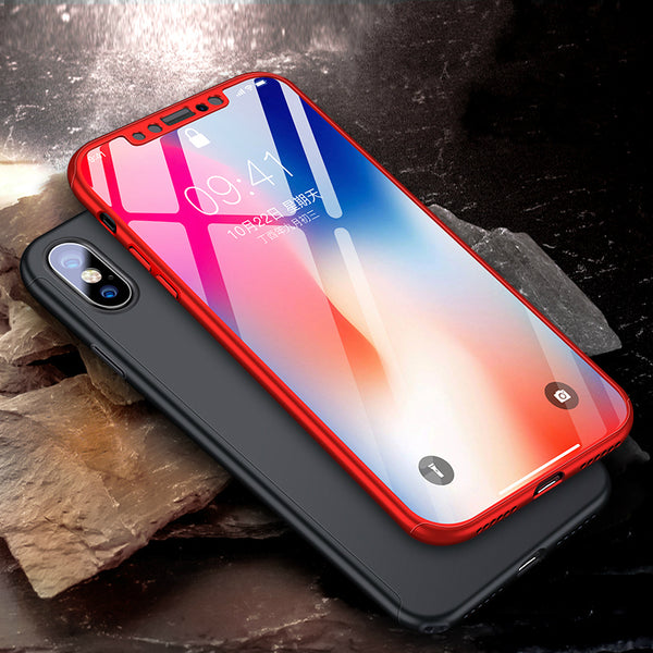 Phone Case - Luxury 360 Degree Full Protective Phone Case For iPhone X With Free Tempered Screen Glass