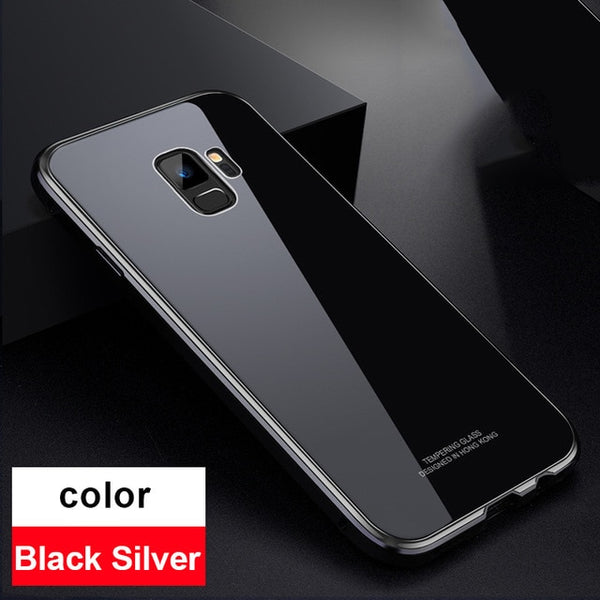 Phone Accessories - Luxury Shockproof Armor Aluminum Bumper Tempered Glass Case for Samsung Galaxy S9 Plus Note 9