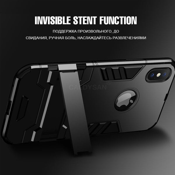 Phone Case - Luxury Full Cover Bracket Protective Shockproof Phone Case For iPhone X/XS/XR/XS Max
