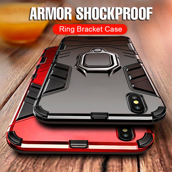 Heavy Duty Anti-knock TPU Cover With Holder For iPhone X XS XR XS Max