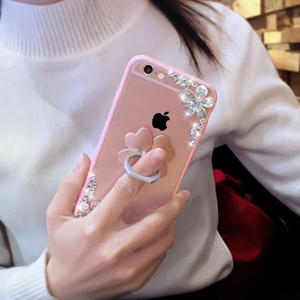 Luxury Bling Rhinestone Flower Case for iPhone