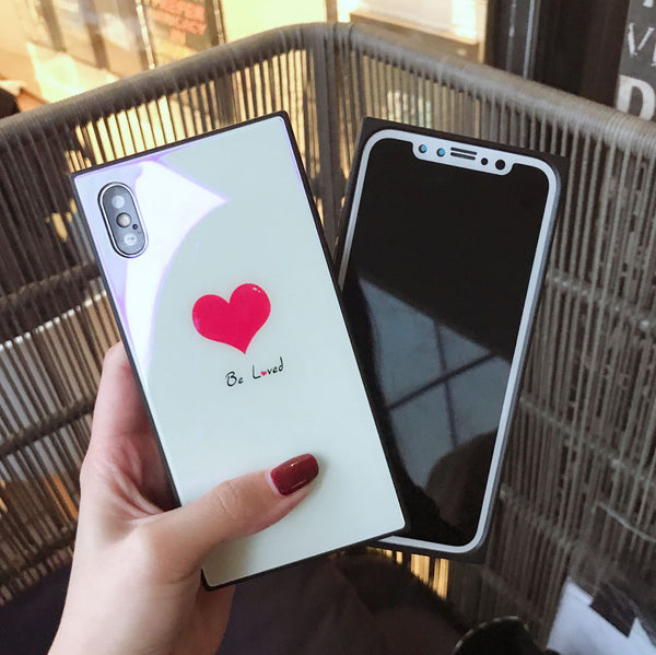 Phone Accessories - Luxury Blue Ray Cute Heart Kiss Square Glass Phone Case For iPhone X 7 8 6 6S Plus