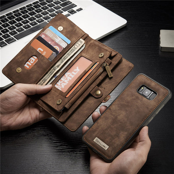 more photos e5b29 94117 Phone Case - Luxury Genuine Leather Flip Cover Magnetic Wallet Phone Bag  For Samsung S8/S9