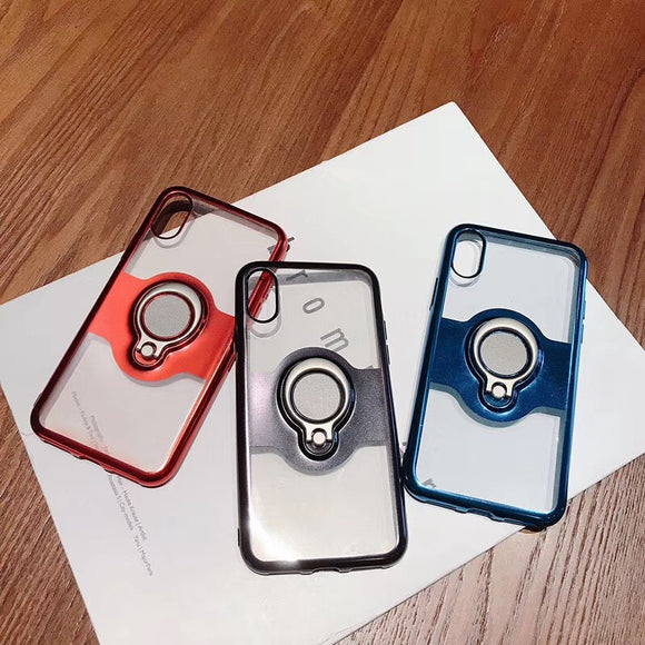 Phone Case - Luxury Plating Shinning Magnetic Bracket Finger Ring Phone Case For iPhone X/XS/XR/XS Max