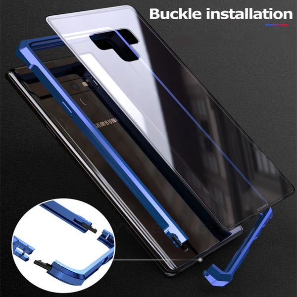 reputable site f7c06 90681 Metal Bumper Edge Glass Case for Samsung S9 S8 Note 9 8