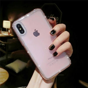 Phone Case - Luxury Cute Bling Glitter Hybrid Hard PC & Soft Silicone Phone Case For iPhone XS/XR/XS Max 8/7 Plus