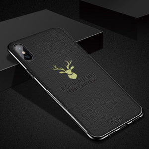 Phone Case - Luxury Plating Electrode Deer Patteren Litchi Leather Phone Case For iPhone XS/XR/XS Max 8/7 Plus