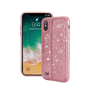 Phone Case - Luxury Glitter Shinning Leather Magnetic Wallet Card Holder Phone Case For iPhone XS/XR/XS Max 8/7 Plus
