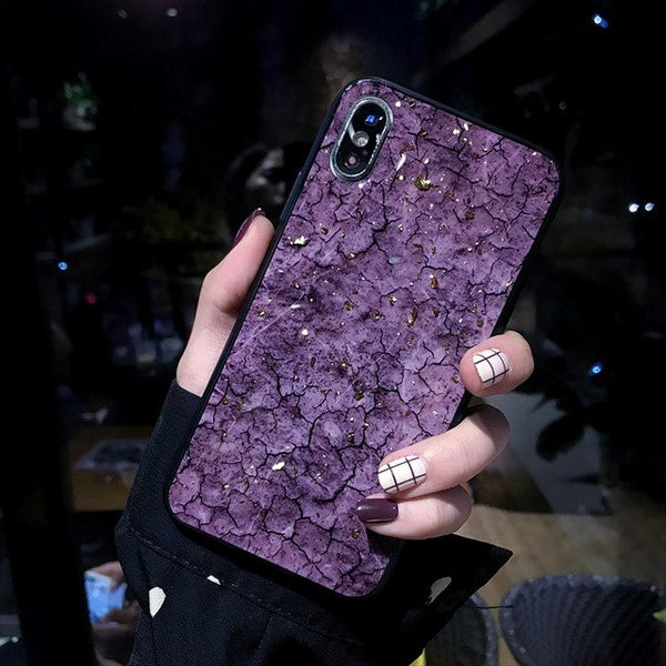 new product faaee 6b55a Luxury Gold Foil Glitter Marble Case For iPhone X XR XS Max