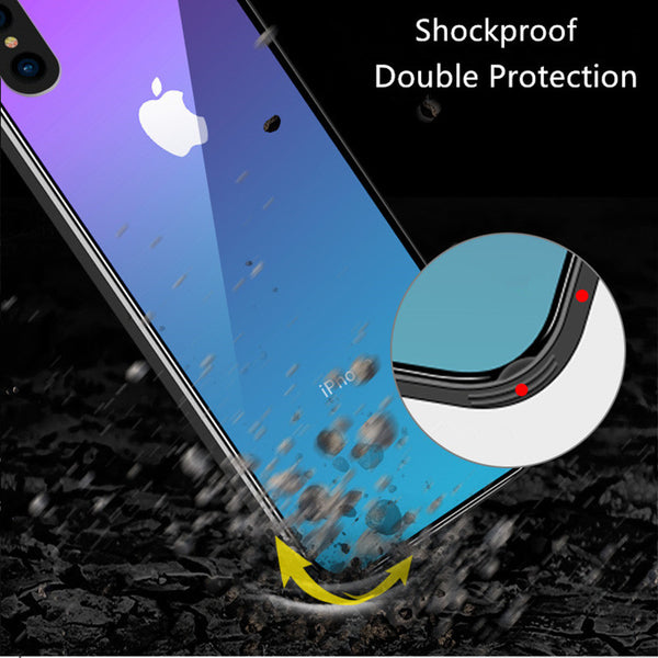 Phone Case - Luxury Gradient Aurora Cool Tempered Glass Phone Case For iPhone X 8/7 Plus