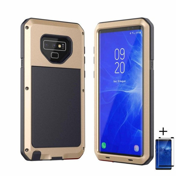 uk availability b9c39 36d2d Luxury Doom Armor Dirt Shock Waterproof Metal Aluminum Phone Case For Note  9 + Tempered Glass(Buy 2 Got 10% off, 3 Go15% off Now)