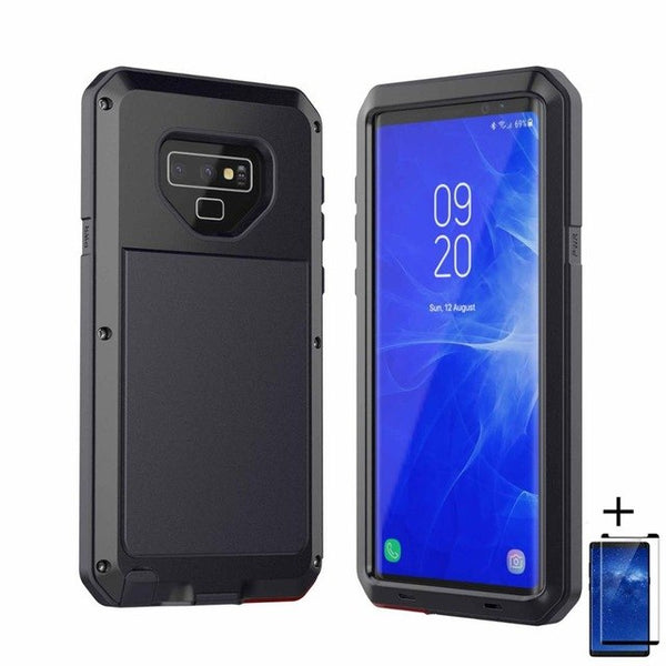 uk availability 67ef9 504a1 Luxury Doom Armor Dirt Shock Waterproof Metal Aluminum Phone Case For Note  9 + Tempered Glass(Buy 2 Got 10% off, 3 Go15% off Now)