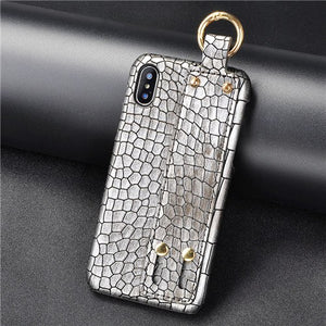 Phone Case - Luxury Crocodile Leather Wristband Phone Case For iPhone XS/XR/XS Max 8/7 Plus
