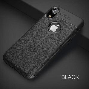 Luxury Litchi Leather Soft Silicone Bumper Rubber Phone Case For iPhone X/XS/XR/XS Max