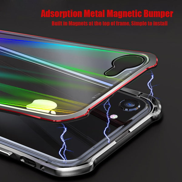 Phone Case - Laser Glitter Transparent Glass Metal Bumpe Case for iPhone X