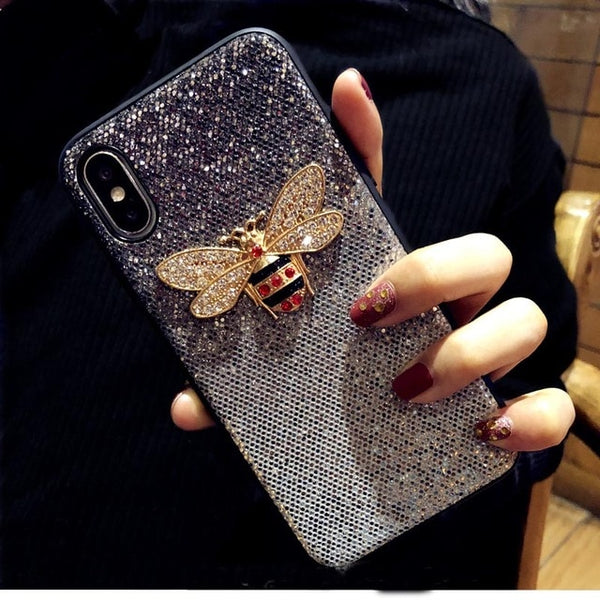 Luxury Metal Diamond Bee Glitter Case For Samsung S8 S9 + Note 8 9