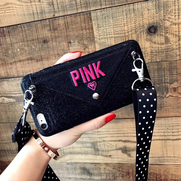 Phone Case - Luxury PINK Glitter Embroidery Leather Case