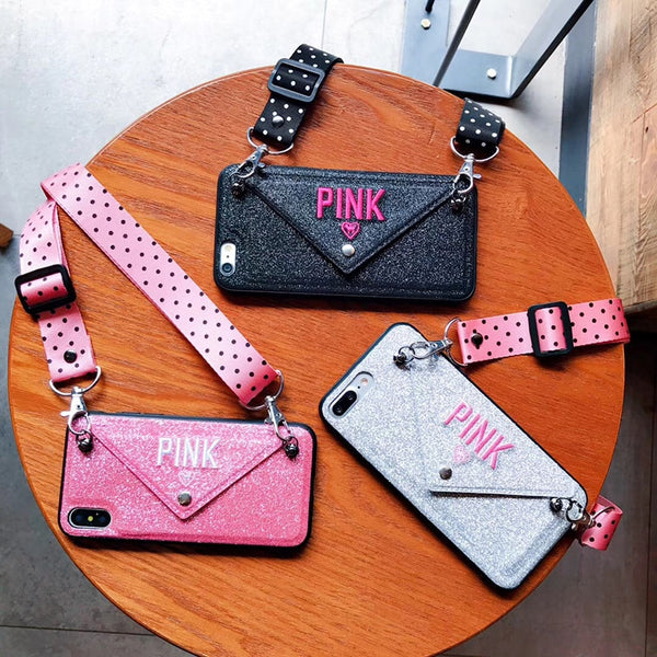 Phone Accessories - Luxury PINK Glitter Embroidery Leather Fashion Wave Point Lanyard Case