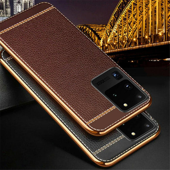 Kaaum Ultra Slim Plating Soft PU Leather Texture Case for Samsung Galaxy S20/10