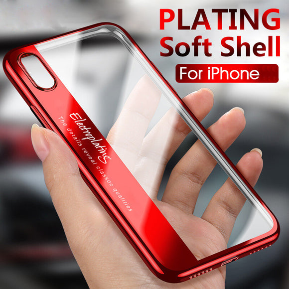Phone Accessories - Luxury Plating Soft Clear Shockproof Full Protection Phone Case For iPhone XS Max XR XS X 8 7 Plus