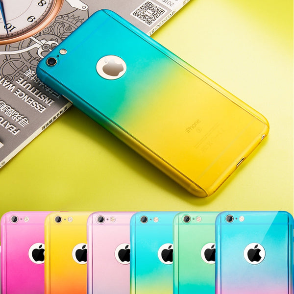 Phone Case - Fashion 360 Full Protection Gradient Case For iPhone X 8 7 6S 6/Plus + Free Glass Film( Buy One Get One 20% Off)