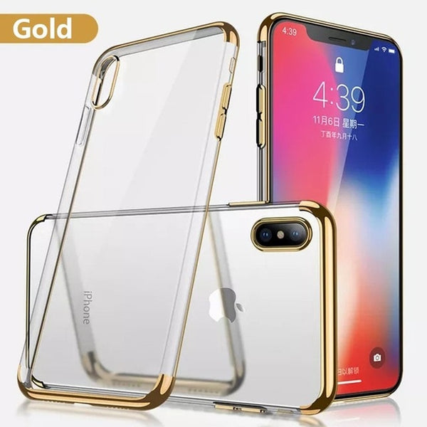 Phone Case - Luxury Plating Clear Transparent Soft TPU Protective Phone Case For iPhone X/Xr/XS/XS Max