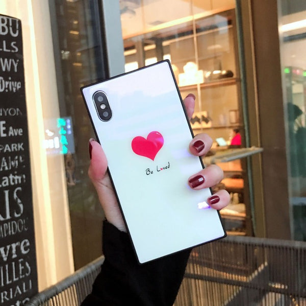 Phone Case-Luxury Kiss Square Tempered Glass Case For iPhone X 8 7