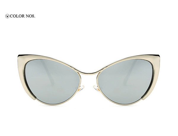 Sunglasses - 2017 New Fashion Cat Eye Mirror Metal Sunglasses