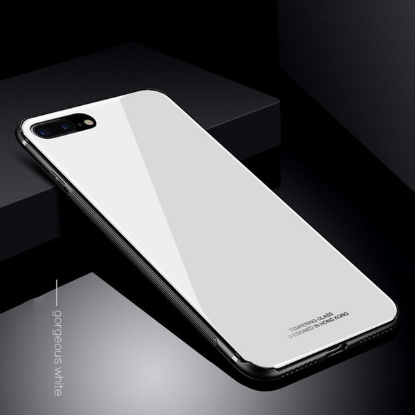 Phone Case-Tempered Glass Case for iPhone 8 Plus 7 X