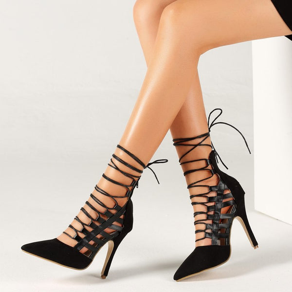 bf6491b1439d Women Shoes - Sexy Thin High Heels Ankle Strap Cross Tied Retro Gladiator  Sandals
