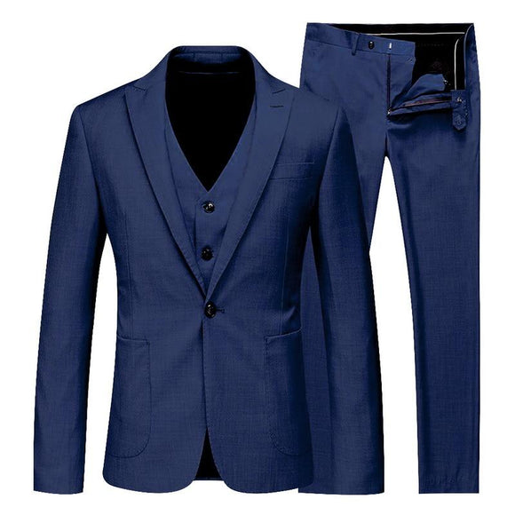 Men Spring Autumn 3 Pieces Solid Classic Blazers Suit Sets Business Blazer +Vest +Pants Suits Sets