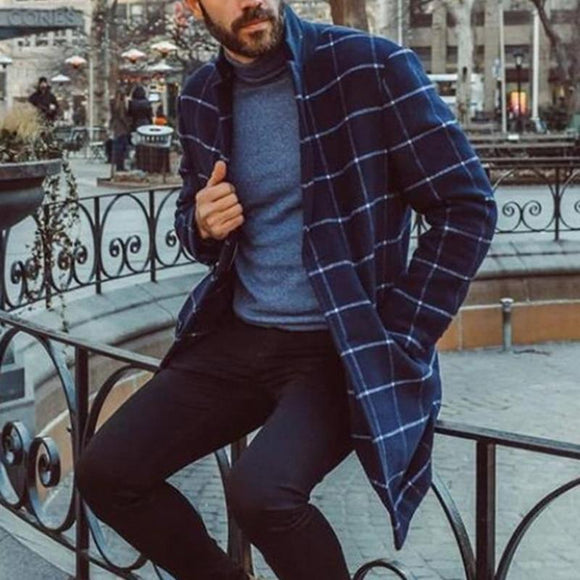 Mens Coat Blue Stripe Print Casual Coat