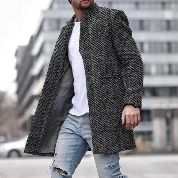 New Arrival Winter Long Coat Men Slim Fit Long Sleeve Cardigans