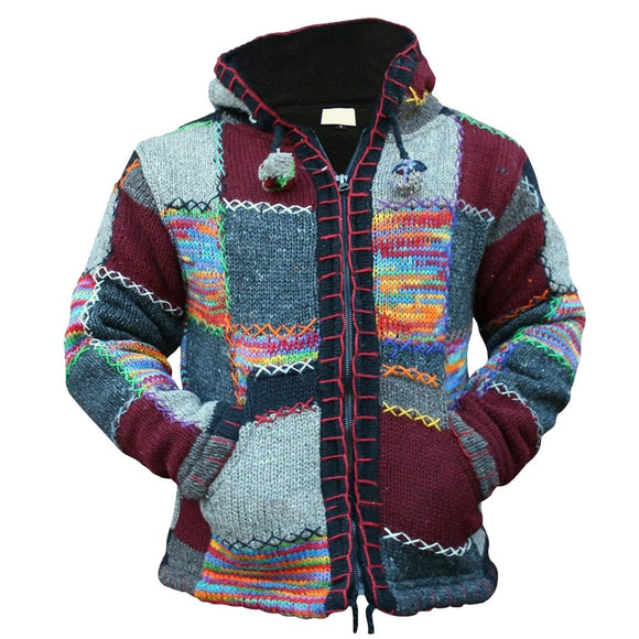 Spring Autumn Men Zipper Hooded Patchwork Knitwear Fashion Knitted Sweater