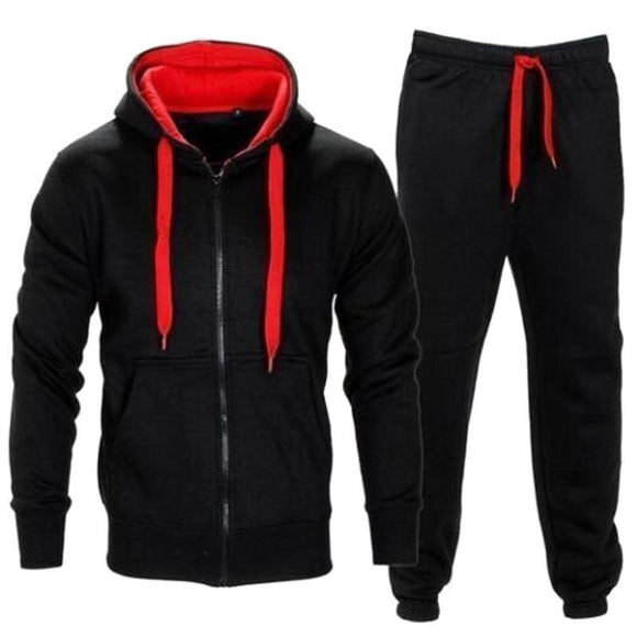 Tracksuit Men 2020 Autumn Sportwear Fashion Mens Hip Hop Set 2PC Zipper Hooded Sweatshirt Jacket+Pant Suit