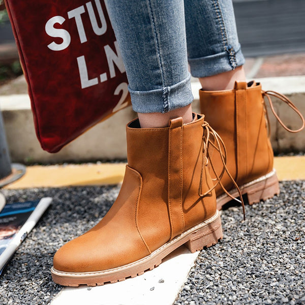 Women Shoes - High Quality Leather Solid Med Thick Ankle Short Snow Boots