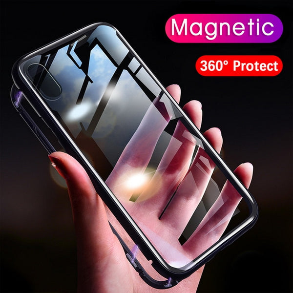 Metal Frame Magnetic Clear Tempered Glass Case For iphone 6 6s 7 8 Plus X
