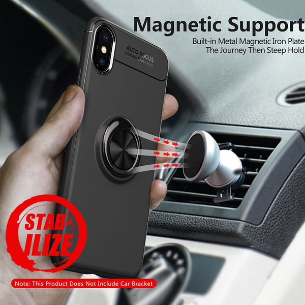 Car Magnetic Ring Cool Holder Soft Matte Silicone Phone Case For iPhone X XS XR XS Max(Buy 2 Get 5% off, 3 Get 10% off Now)
