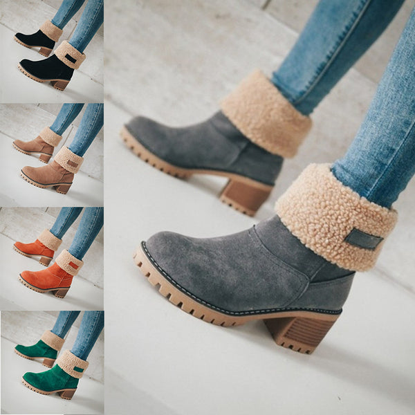 Women's Shoes - Thick Bottom Winter Fur Wedge Booties