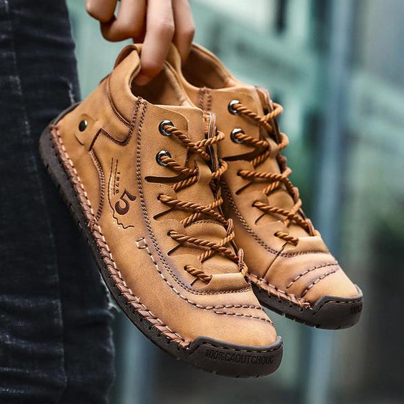 Men's Hand Stitching Vintage Microfiber Leather Lace Up Comfy Soft Casual Shoes
