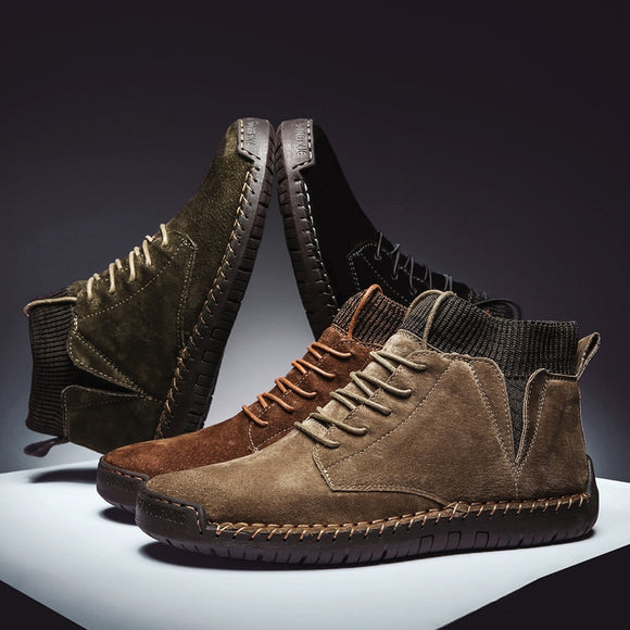 Shoes -New Lace-UP Non-slip Cow Suede Ankle Men Boots