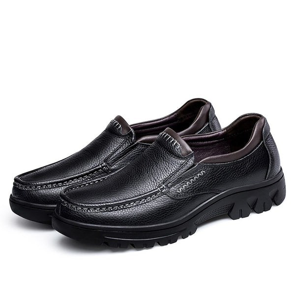 Shoes - Men Genuine Leather Shoes Flats Spring Autumn Shoes Slip On Solid Shoes