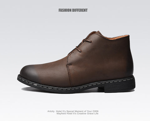 Men Genuine Leather Autumn Combat Shoes