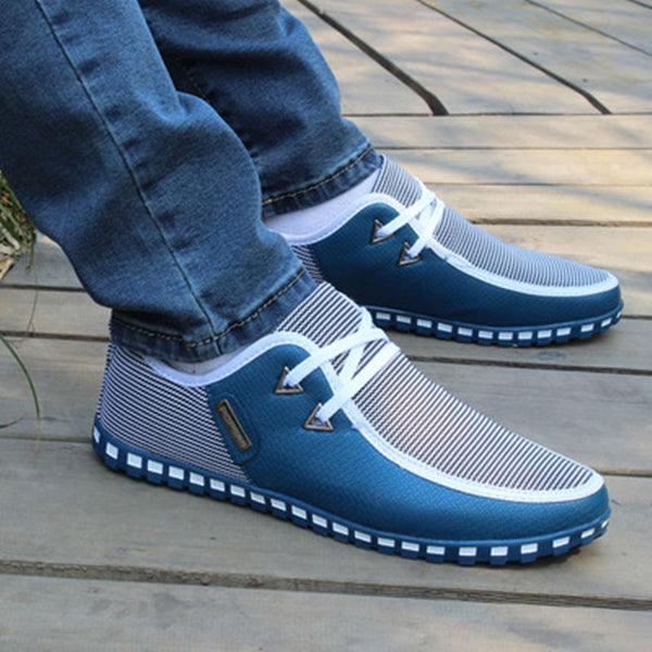 Shoes-Men's Striped Lace Up Lightweight Leather Shoes(Buy 2 Got 5% off, 3 Got 10% off)