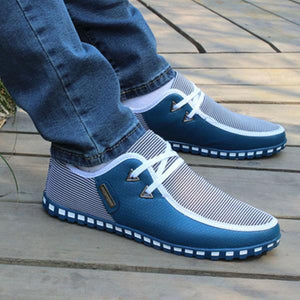 Shoes-2020 Men's Striped Lace Up Lightweight Leather Shoes
