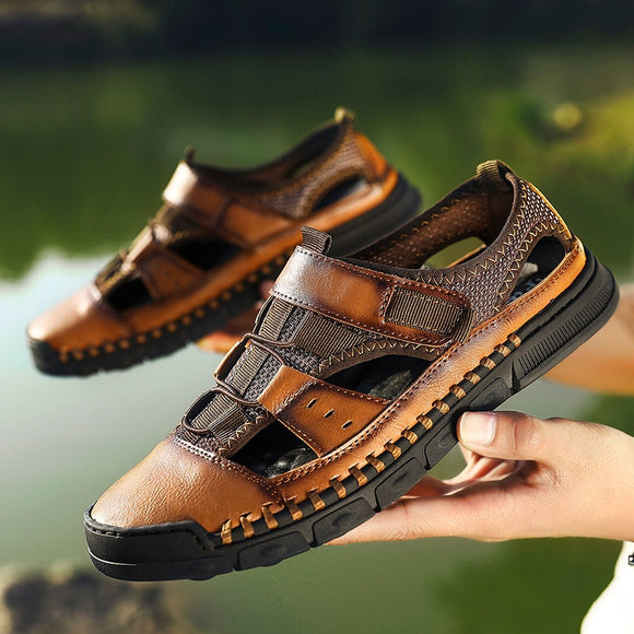 Kaaum Men Summer Retro Leather Sandals