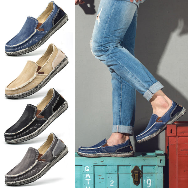 Men's Shoes - Breathable Canvas materials Soft sole Brand Lazy Shoes